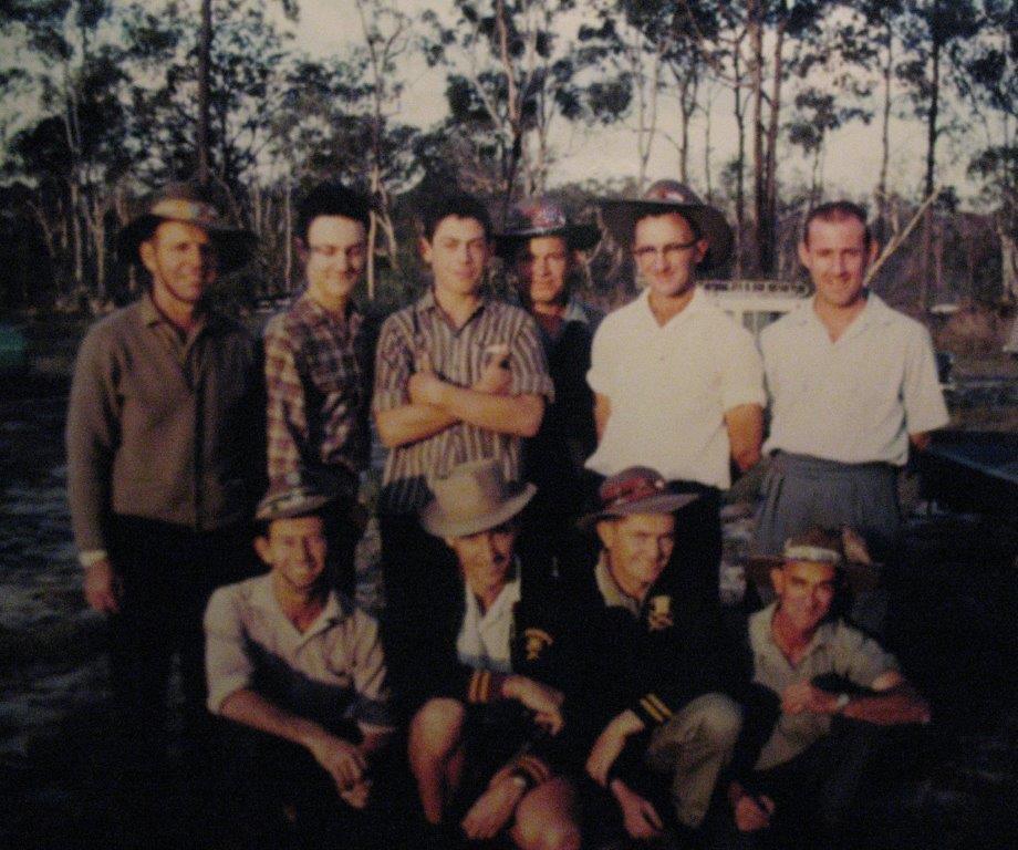 Jim, Greg & Peter Rush, Bob Christison, Eric Nunn, Alf Berghauser, Joe Rush, Ron Duce, John Henderson & Ted Knauer -- Belmont c1960s