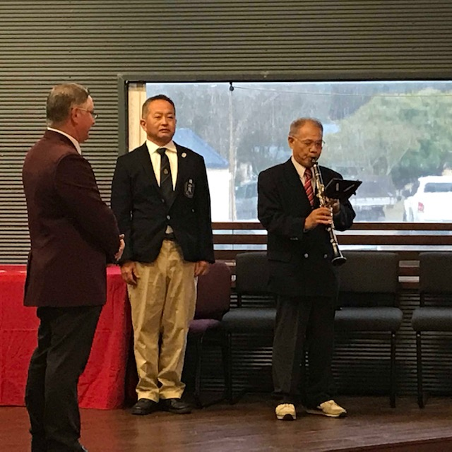 Major Naozo Kamayama of Japan treats the QRA crowd to a performance of the Australian and Japanese National anthems, President of Master Rifleshooters Association of Japan Yoshihito Sakakibara also in attendance
